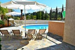 Зона отдыха у бассейна. Кипр, Аргака : Прекрасная вилла с бассейном и джакузи, 100 метров до пляжа, 3 спальни, 2 ванные комнаты, игровая комната, патио, барбекю, парковка, Wi-Fi