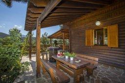 Терраса. Кипр, Троодос : Двухэтажный деревянный коттедж с большой зеленой территорией, 3 спальни, барбекю, парковка, Wi-Fi