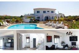 Фасад дома. Кипр, Аммос - Лимнария Бич : Роскошная вилла с бассейном и зеленым двориком с барбекю, 3 спальни, 3 ванные комнаты, джакузи, парковка, Wi-Fi