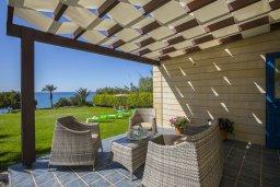 Патио. Кипр, Марони : Уютная вилла с большой зеленой лужайкой в 20 метрах от пляжа, 3 спальни, 2 ванные комнаты, барбекю, парковка, Wi-Fi