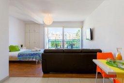 Студия (гостиная+кухня). Кипр, Центр Айя Напы : Студия в комплексе с бассейном, с кондиционером, плазменным телевизором и балконом
